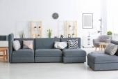 Moderní šedá pohovka s různými polštáře v obývacím pokoji