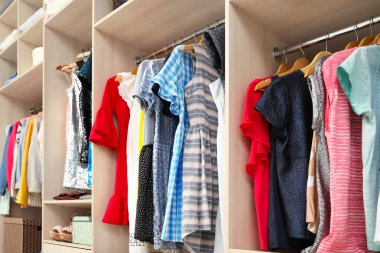 Large wardrobe with female clothes in dressing room