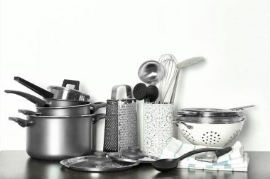 Kitchenware prepared for cooking classes