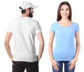 Young people in stylish t-shirts