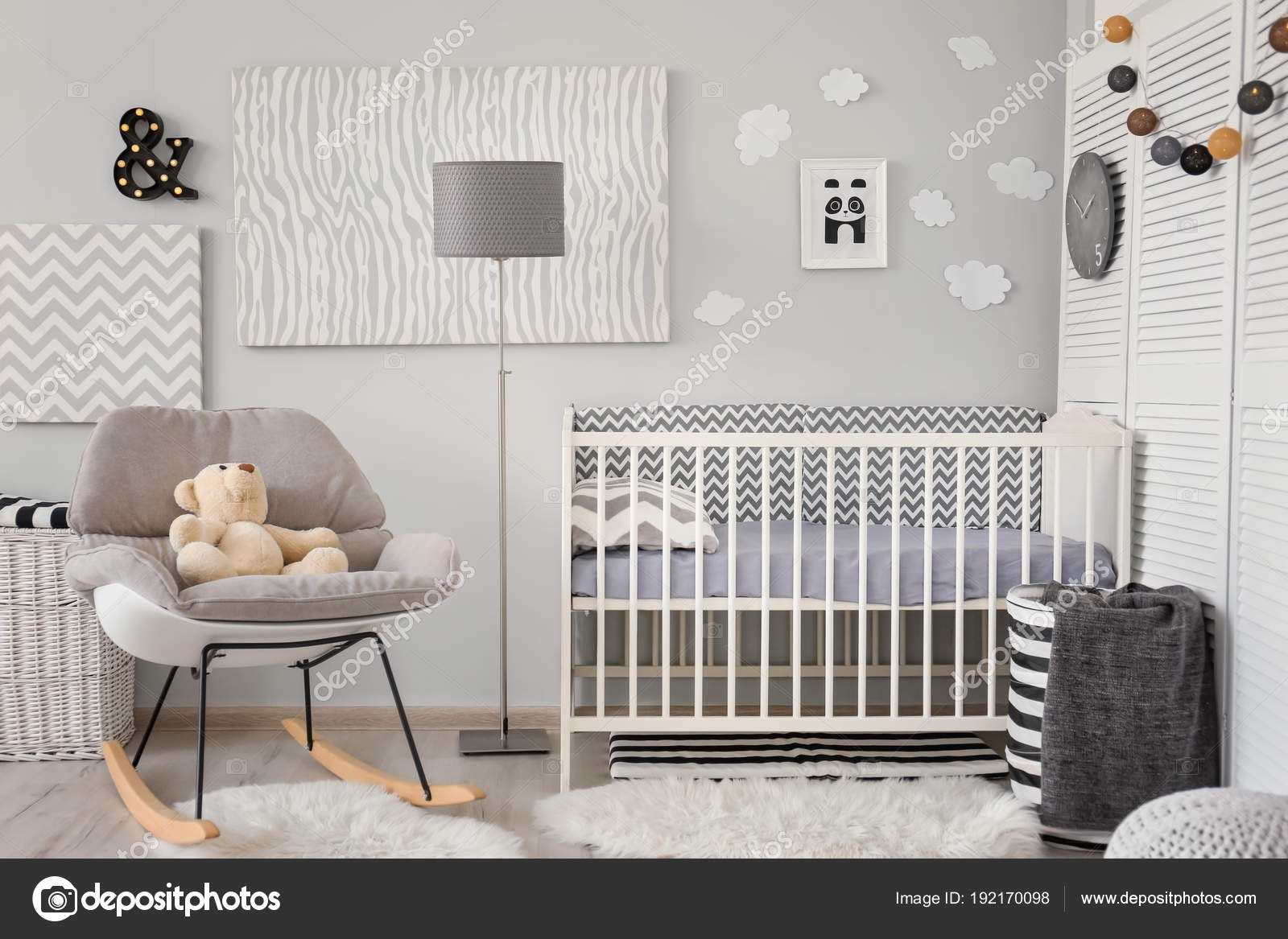 Baby Zimmer Einrichtung Mit Krippe Haus Design — Stockfoto ...
