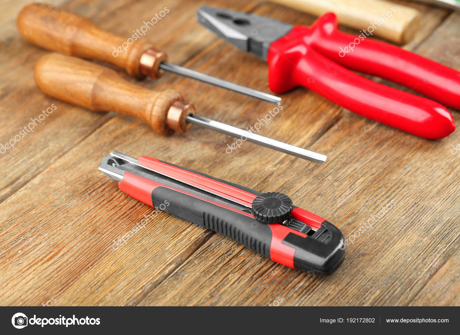 Set Carpenter Tools Wooden Background Stock Photo C Belchonock