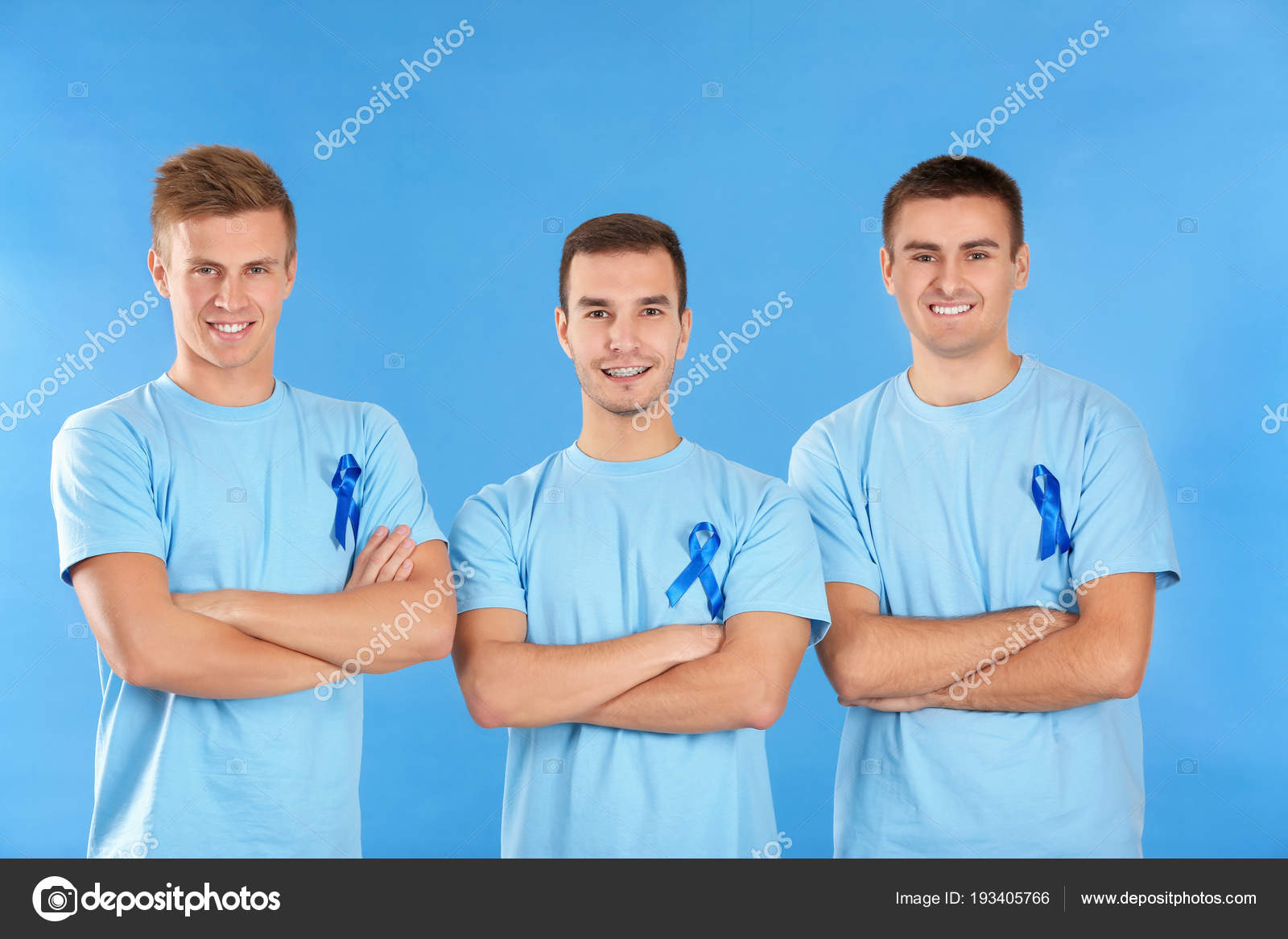 Young Men Shirts Blue Ribbons Color Background Prostate
