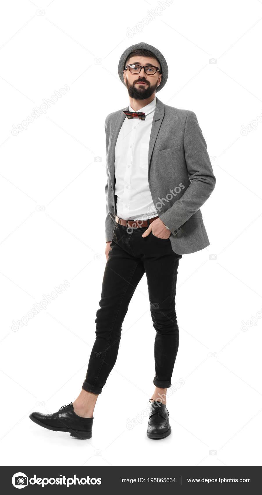 Abiti Eleganti Hipster.Hipster Attraente In Vestito Elegante Foto Stock