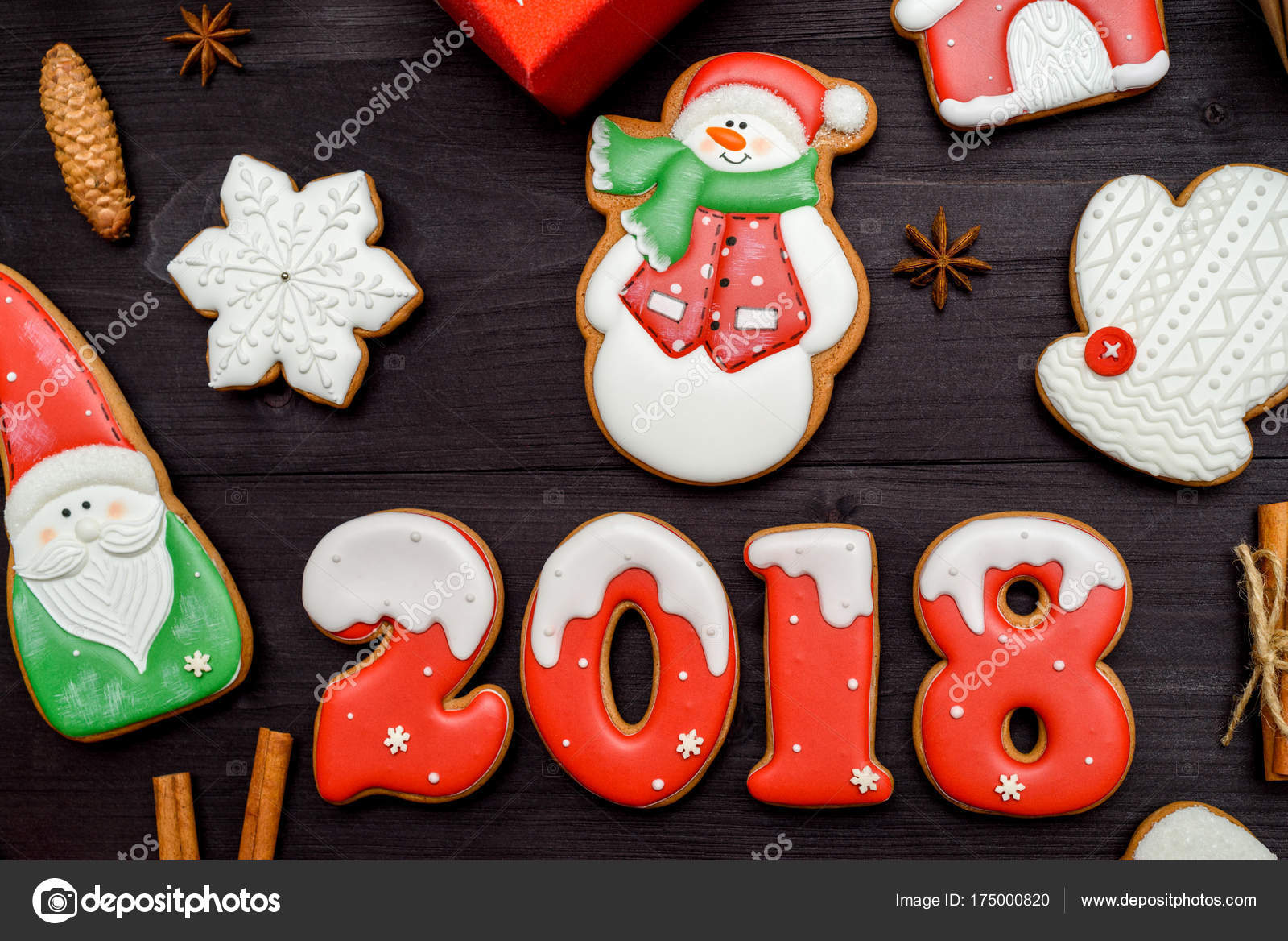 Happy New Year 2018 Sign Symbol With Red And White Gingerbread