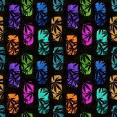 abstrakte geometrische nahtlose Muster mit bunten Klecksen und Blättern. Vintage-Stil Aquarell Hintergrund auf schwarz. für Papier, Textilien, Dekoration und Verpackung