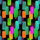 abstrakte geometrische nahtlose Muster mit bunten Klecksen. Vintage-Stil Aquarell Hintergrund auf schwarz. für Papier, Textilien, Dekoration und Verpackung.