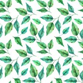 Floral seamless pattern with spring green leaves in hand drawn watercolor style on white