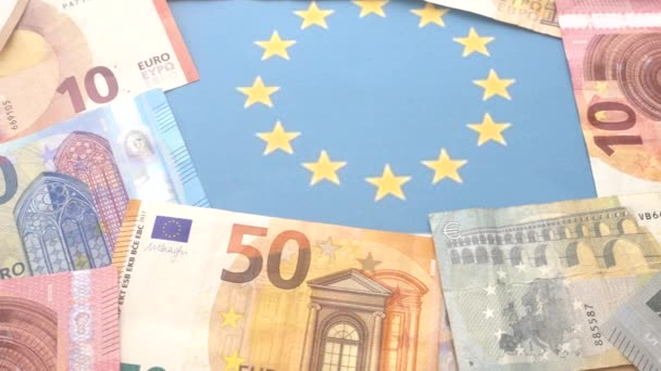 close up of assorted value euro notes and images