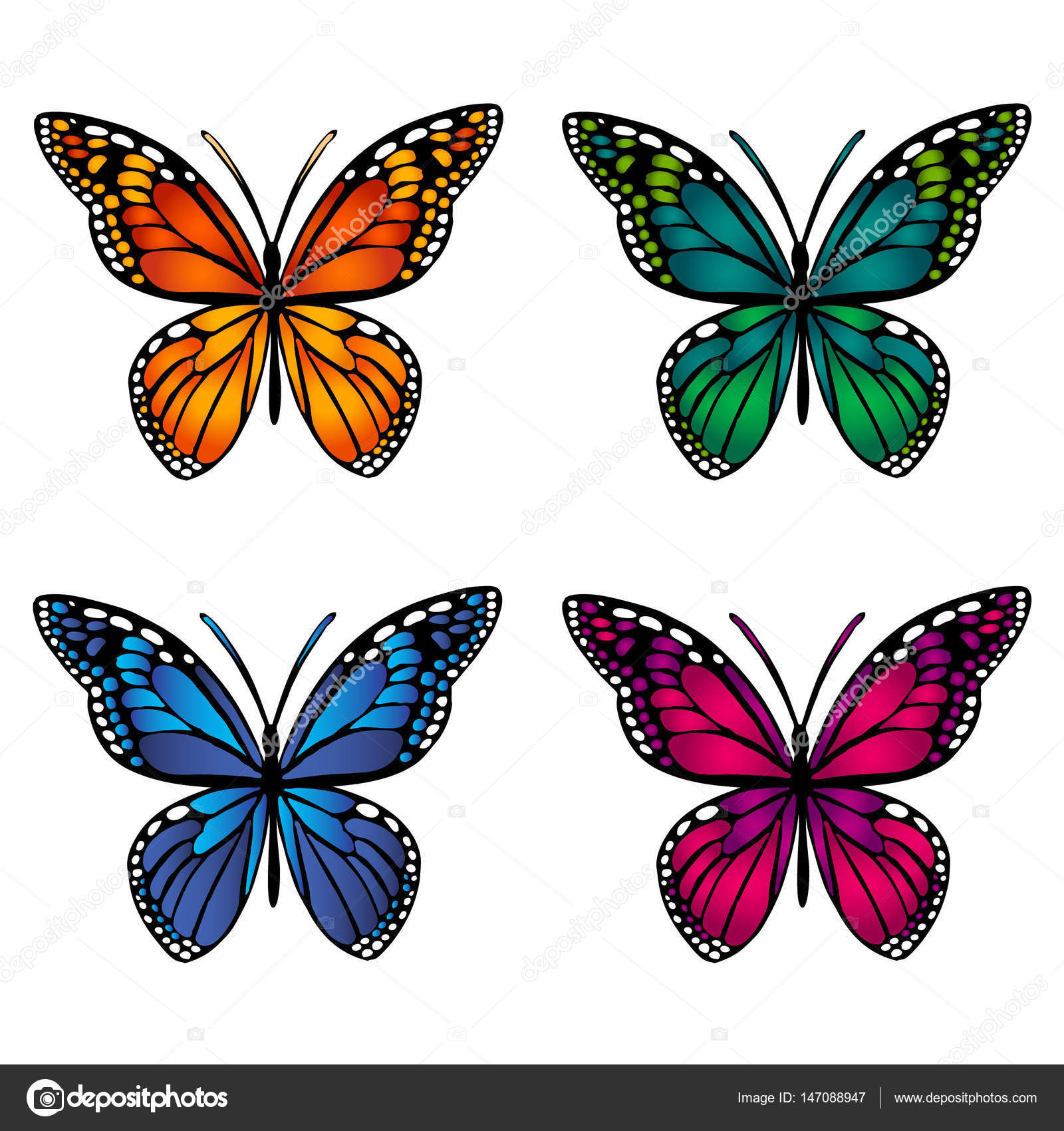 Colorful Butterflies On White Background Stock Vector