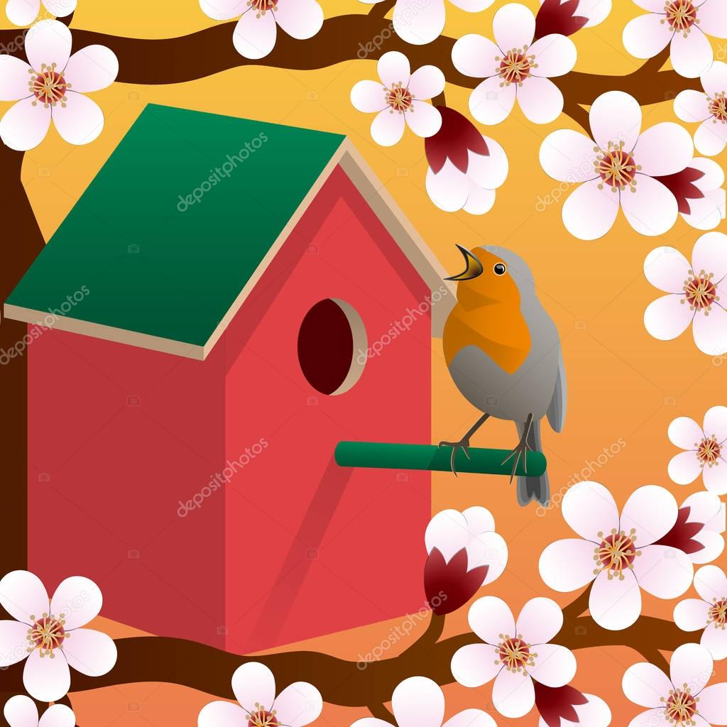Bird near birdhouse. Blossoming spring tree. Spring. Vector.