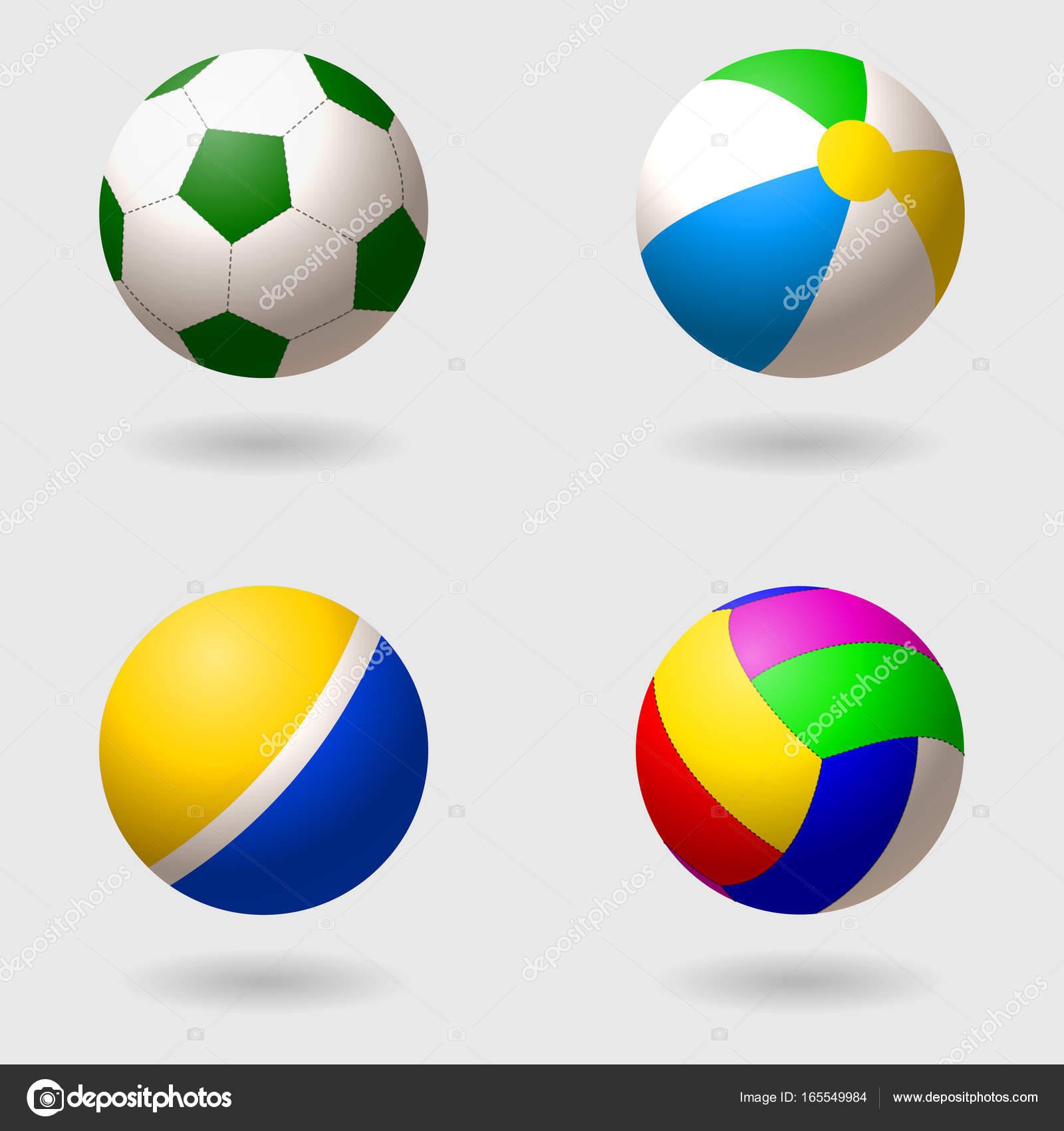 02384b1e39f430 Набір дітей s кулі на різні ігри. Футбол, волейбол, надувні пляжний м'яч і  палацової м'яч, гумові. Ізольовані об'єкти. Векторні ілюстрації — Вектор  від ...