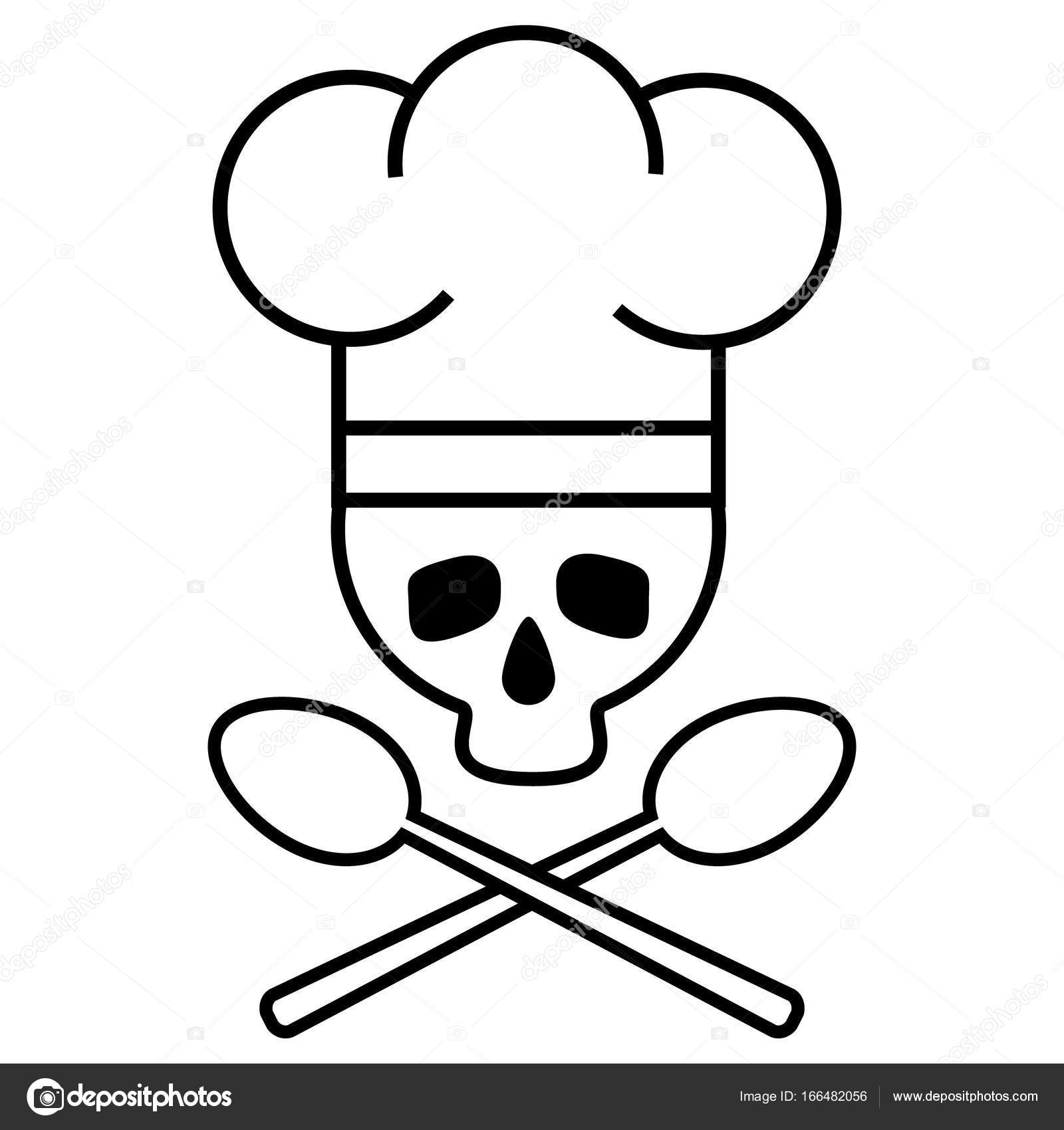 Icono De Dibujo Chef De Calavera Con Sombrero De Chef S