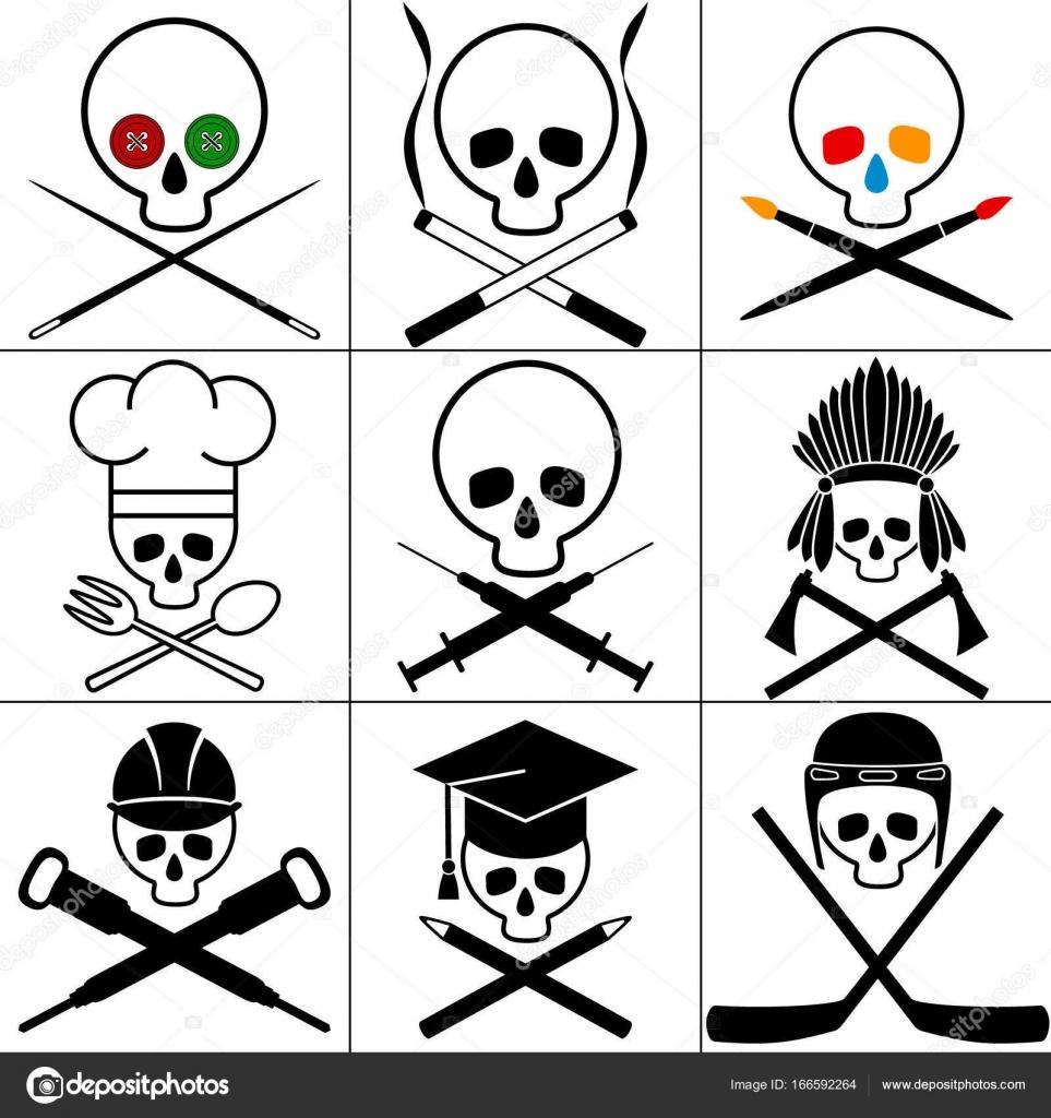 Totenkopf Bilder Gesetzt Weißen Hintergrund Vektor Illustrationen