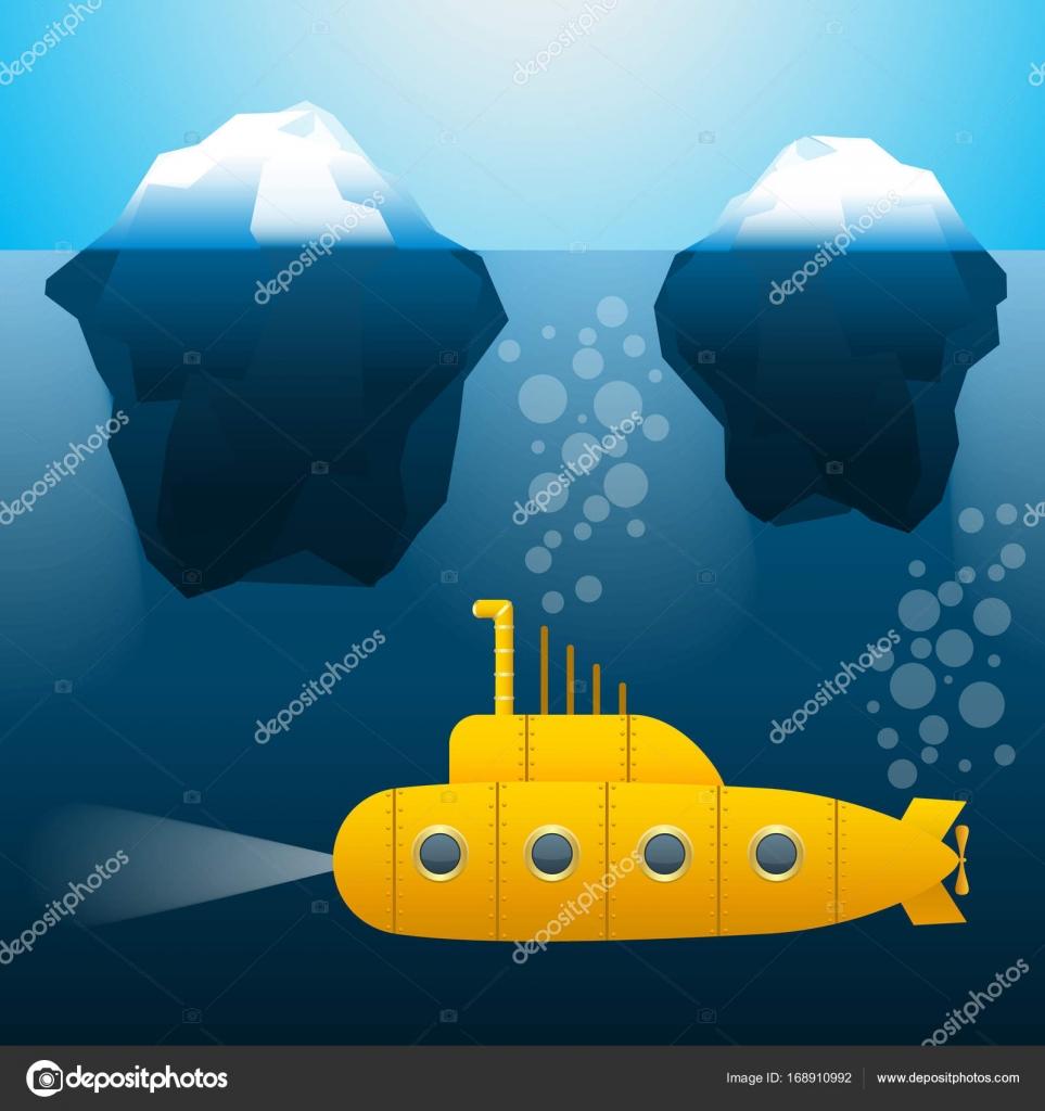 u-Boot unter Wasser. Eisberge. Cartoon-Stil. Helle Farben. Vektor ...