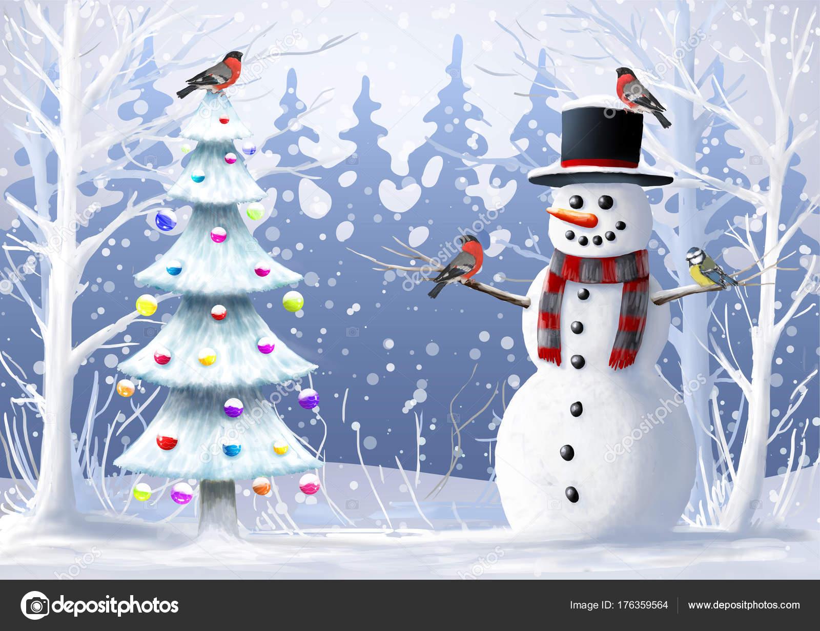 クリスマス イラスト雪だるまクリスマス ツリー野生の鳥冬の風景