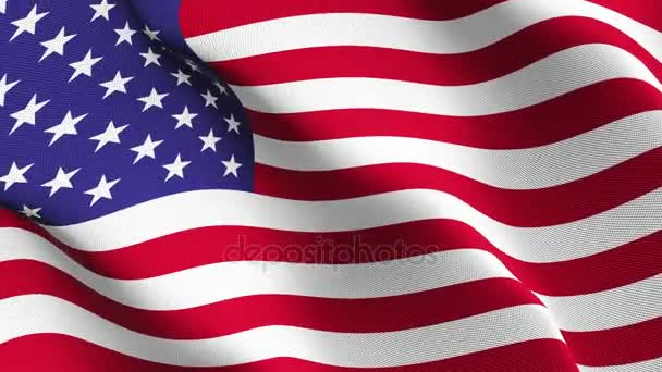United States flag waving loop. United States realistic flag with fabric texture blowing on wind.