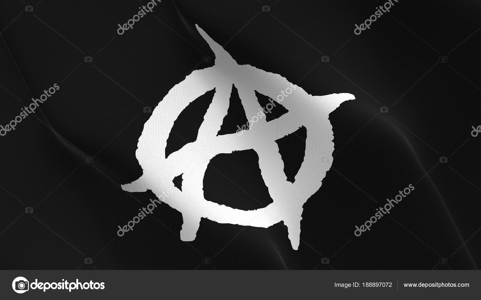 Anarchy Symbol White Black Flag Waving Loop Anarchy Symbol White