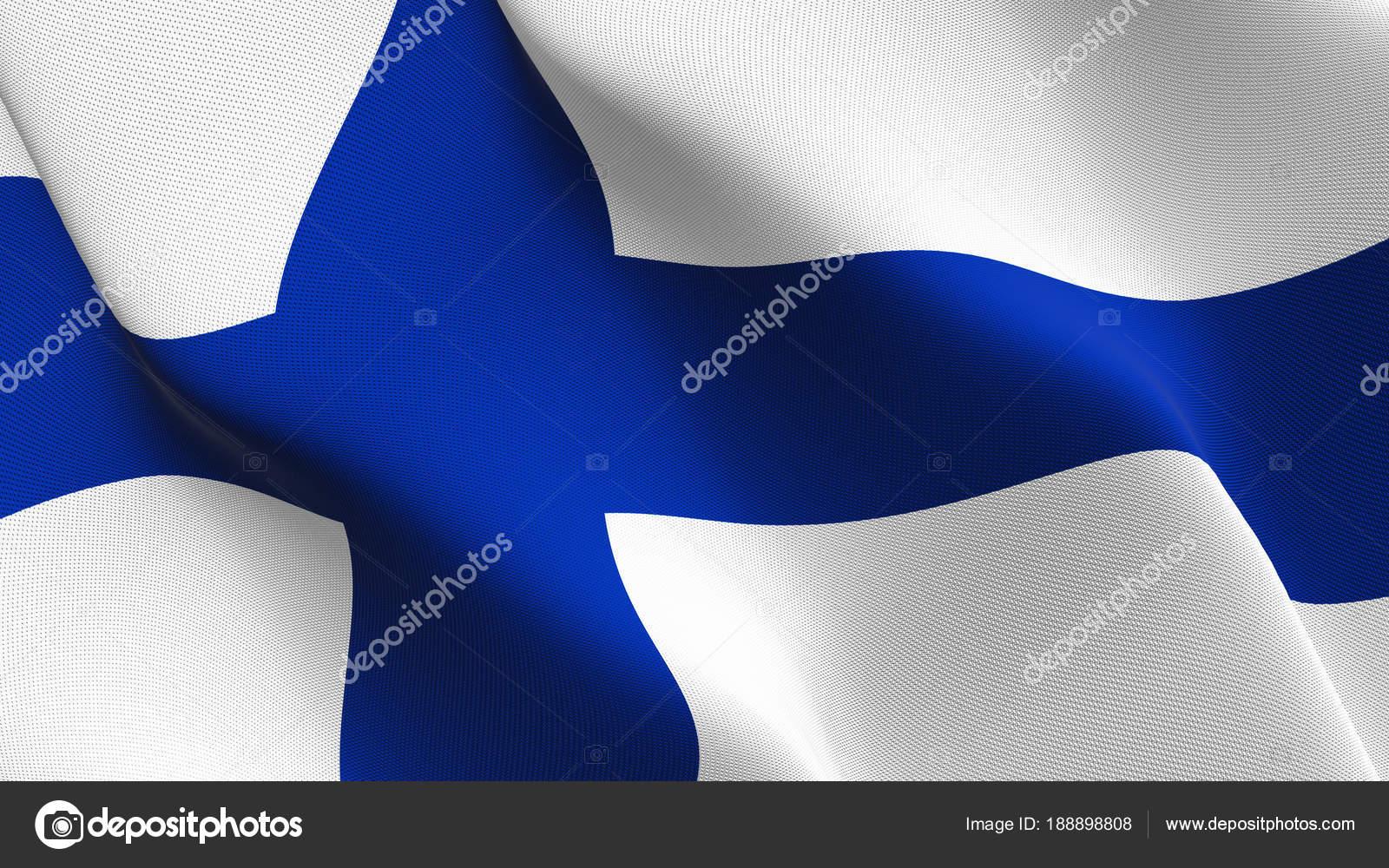 Lazo Ondeante Bandera Finlandia Bandera Realista Finlandés Con ...