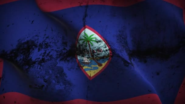 Guam US State grunge flag waving loop. United States of America Guam dirty flag blowing on wind.