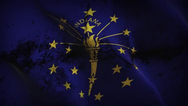 Indiana US State grunge flag waving loop. United States of America Indiana dirty flag blowing on wind.