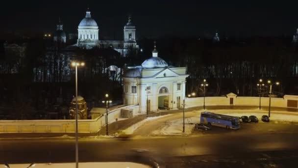 Alexander Nevsky Lavra és éjszakai forgalom, Szentpétervár, Oroszország