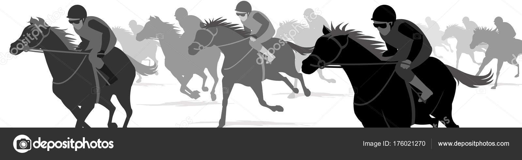 Horse Race Silhouette Rider Jockey Racecourse Stock Vector