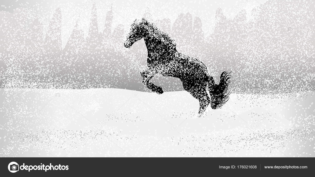 Running Horses Horses Running Snow Field Stock Vector C Vectorfactory 176021608