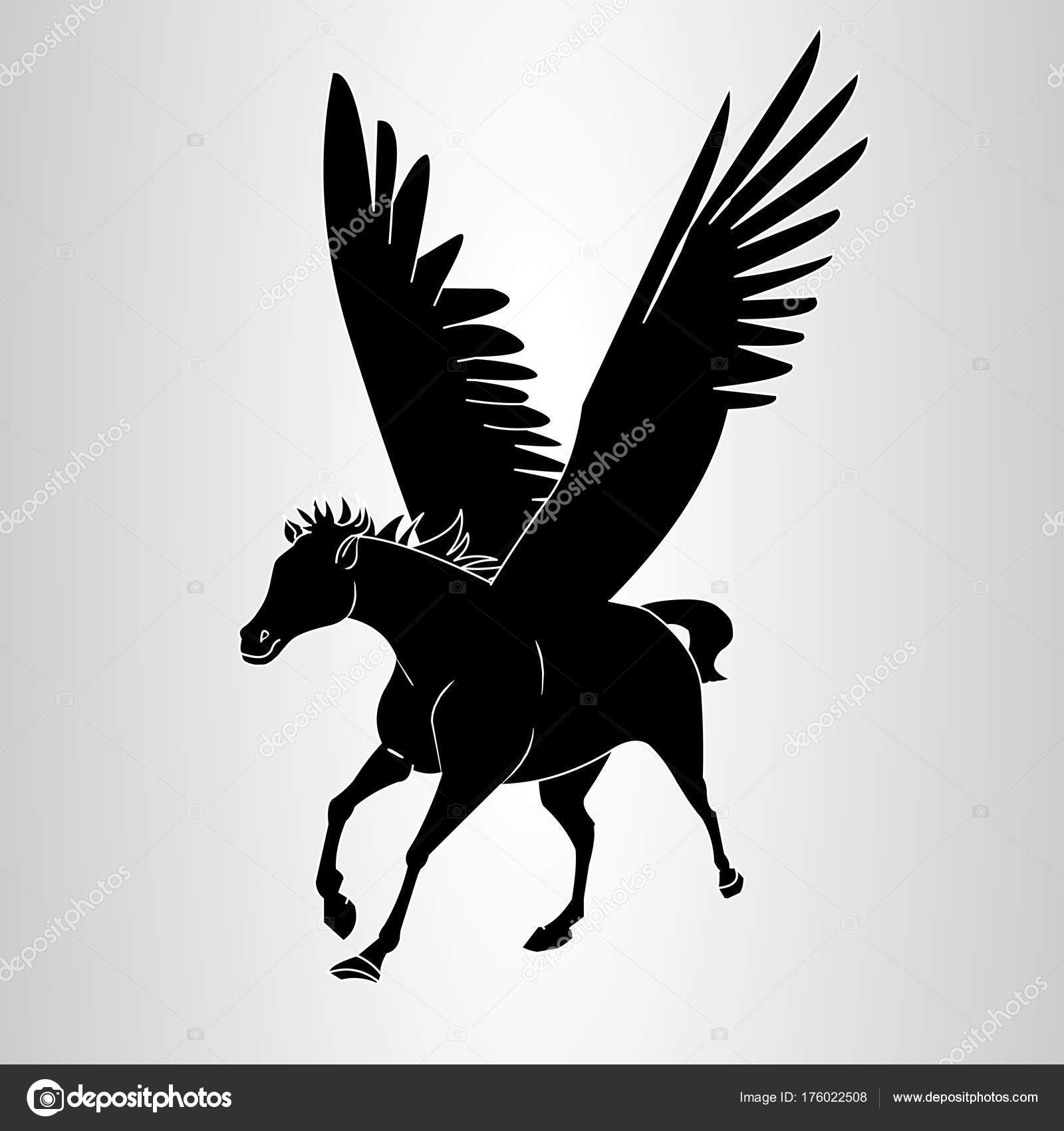 Pegasus Silhouette Flying Horse Stock Vector C Vectorfactory