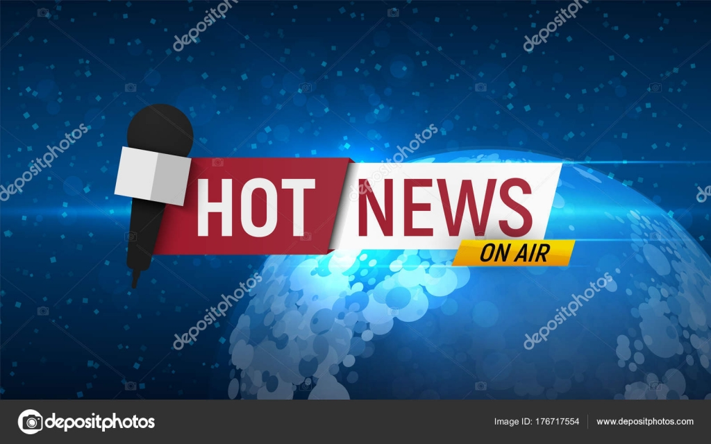 Hot news on globe background  Title for breaking news