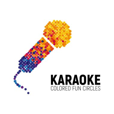 Microphone logo made with color circles. Karaoke logotype on white background. Vector illustration
