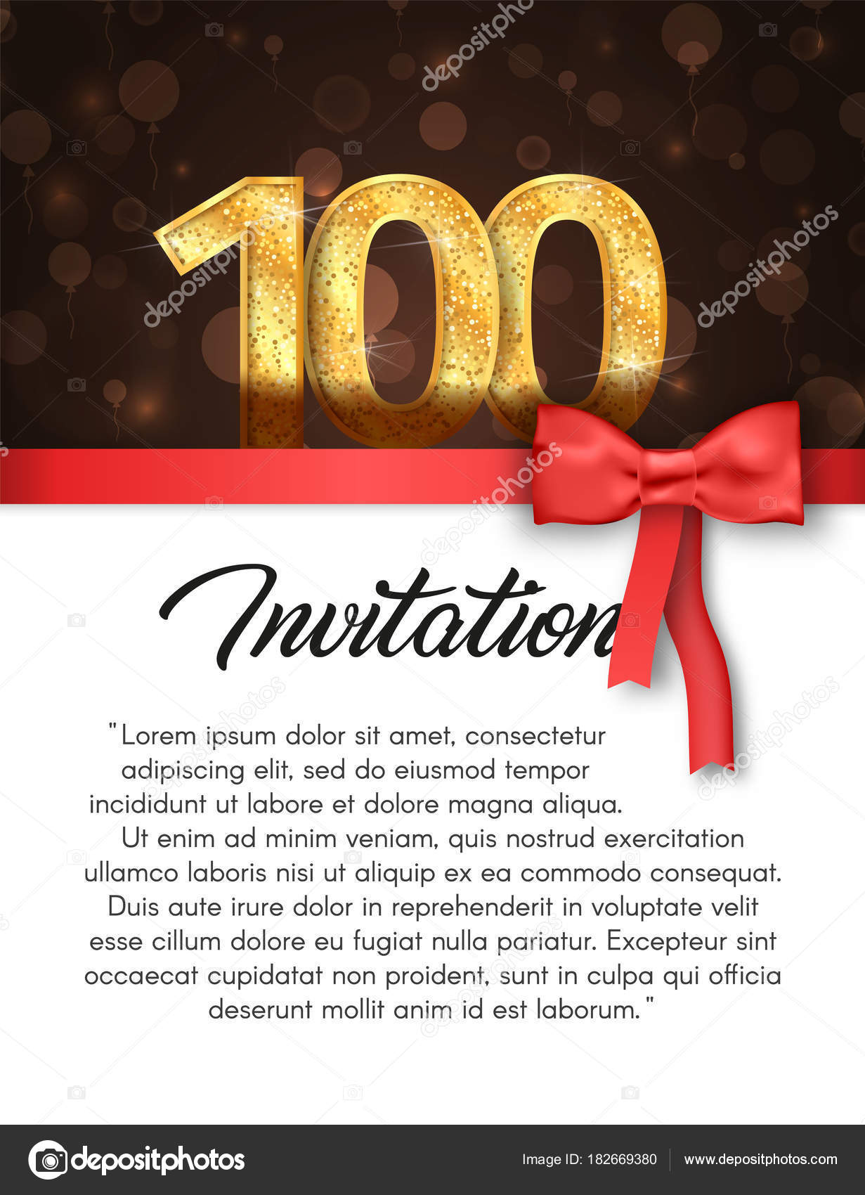 Invitation card for 100 years anniversary vector illustration ...