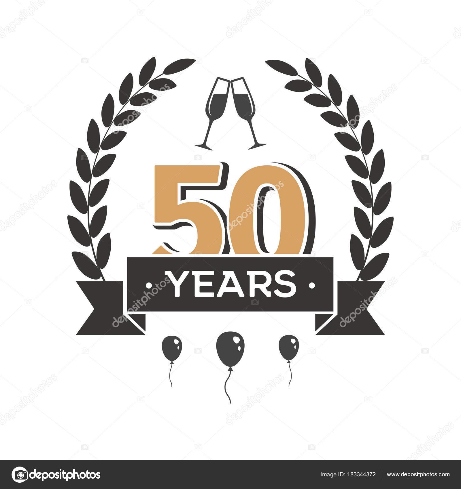 vijftig jaar 50 th verjaardag retro vector embleem. Vijftig jaar vintage  vijftig jaar