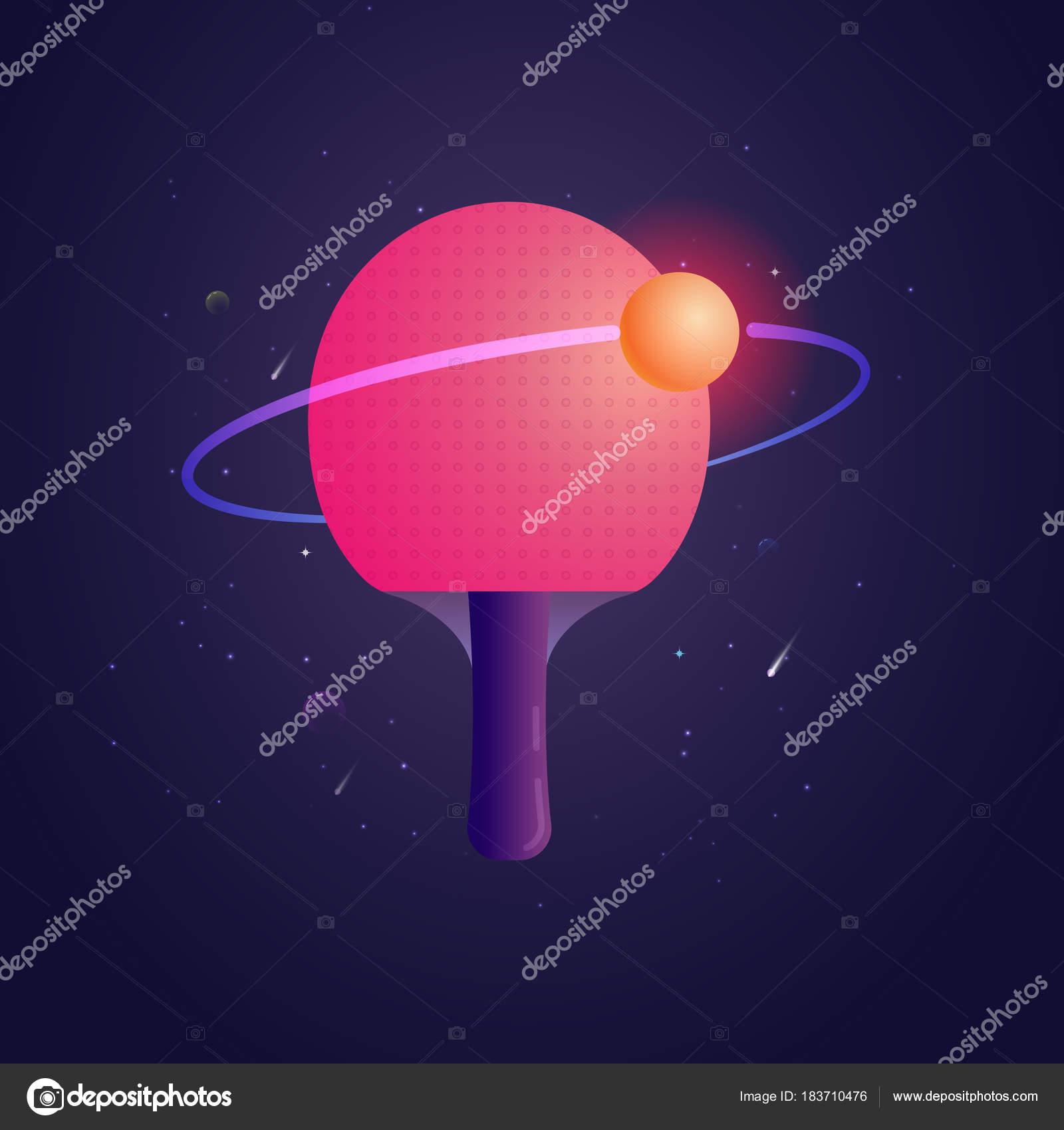 59ec183e5 Raquete para ping-pong com bola como uma ilustração do vetor de sputnik.  Modelo de cartaz para o clube de ténis de mesa — Vetor de ...