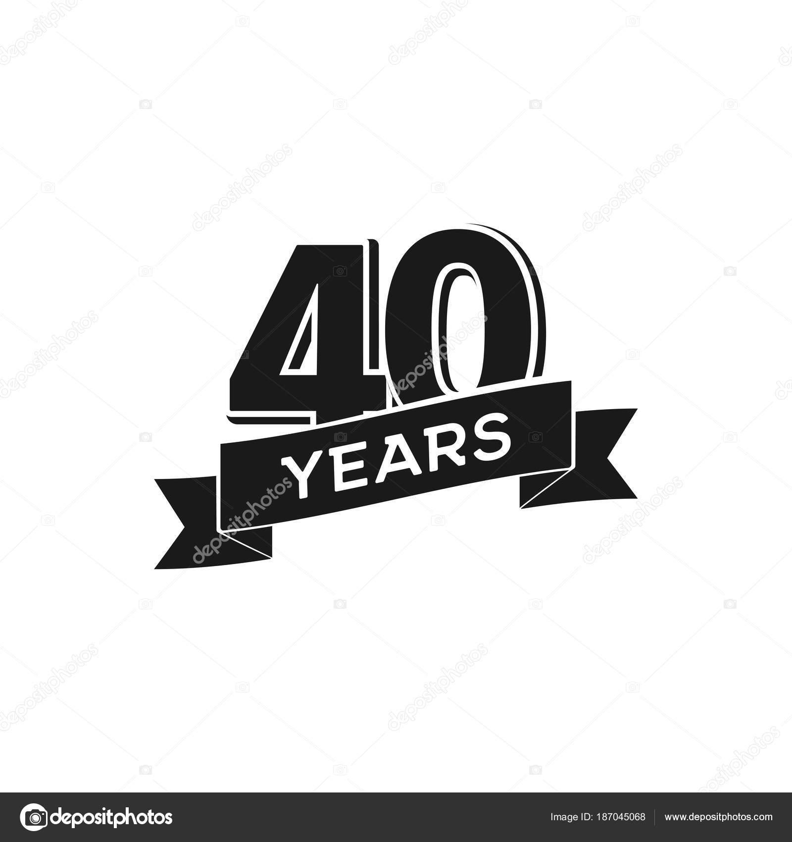 Vektor 40 Jahrigen Jubilaum Logo 40 Jahriges Jubilaum Isoliert