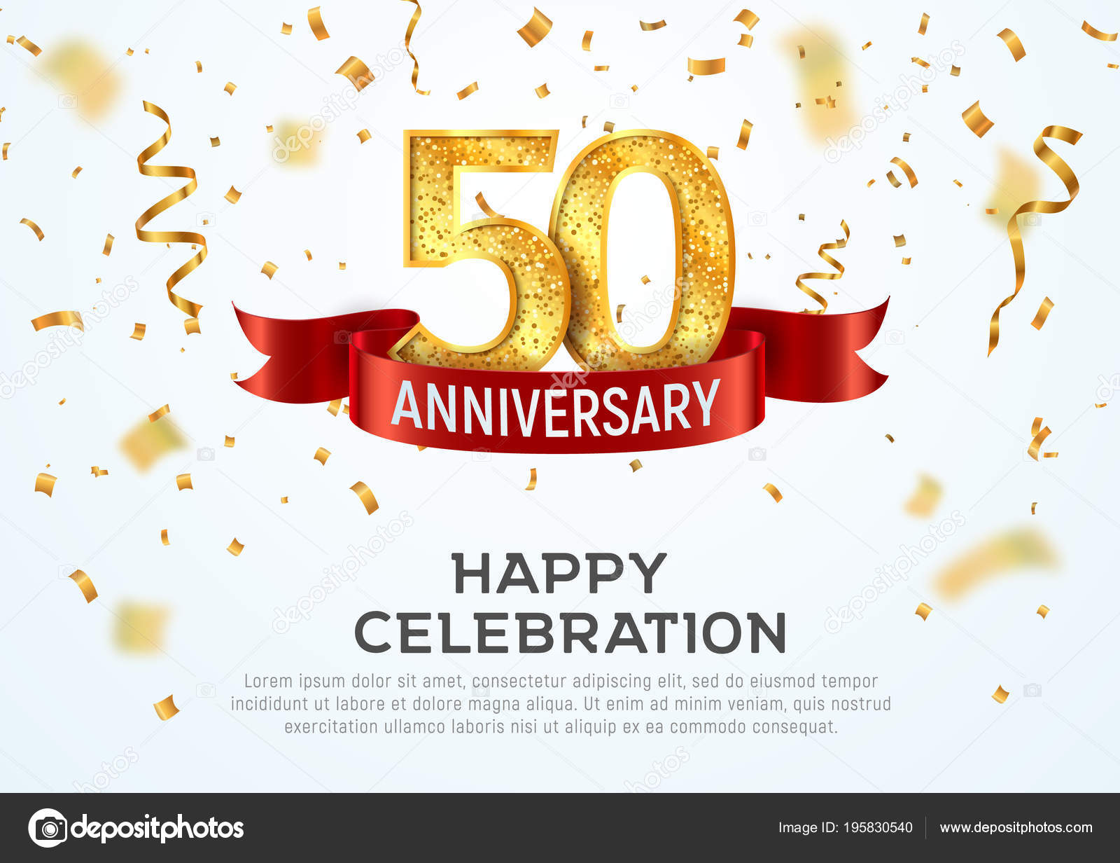 50 years anniversary vector banner template. Fifty year jubilee with ...