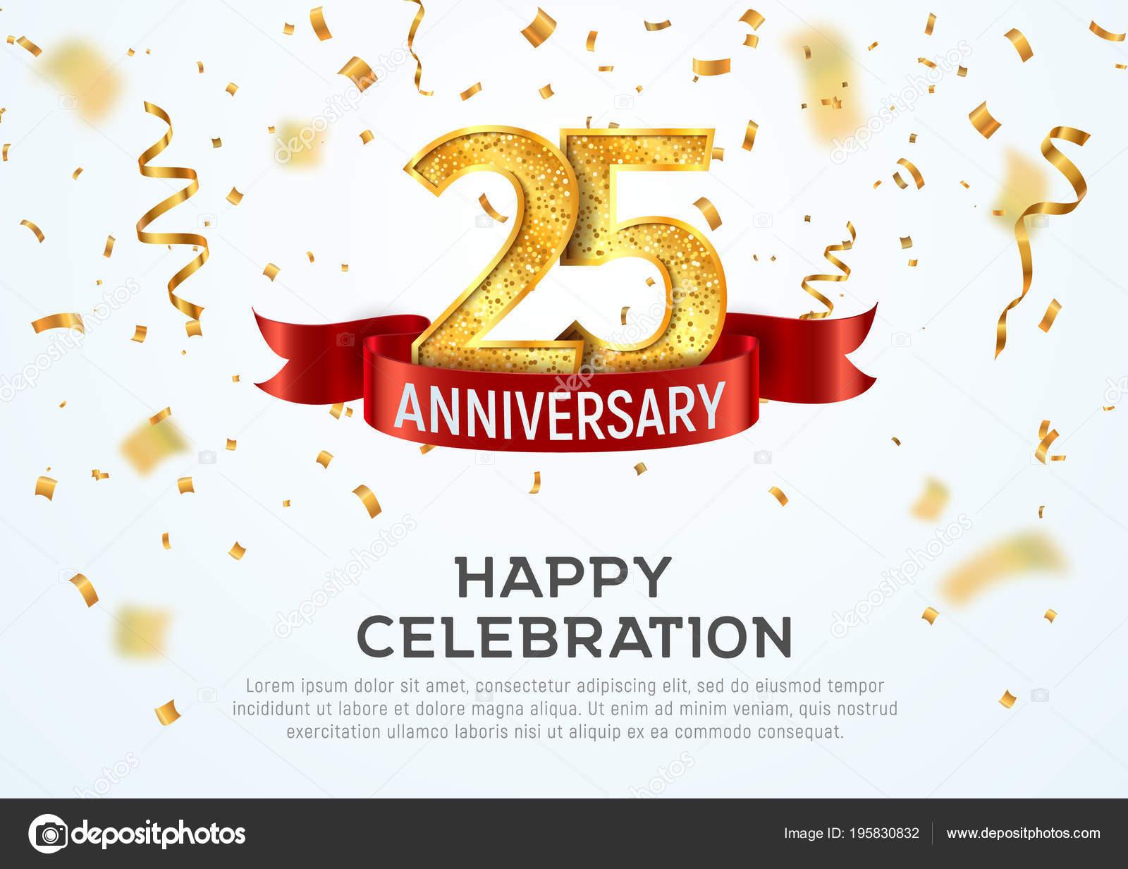 25 Jahre Jubiläum Vektor Banner Vorlage. 25-Jahr-Jubiläum mit rotem ...