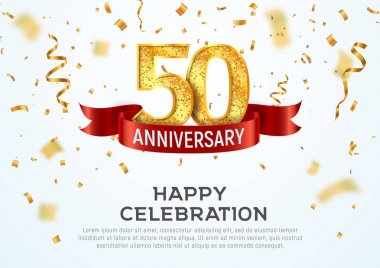 50 years anniversary vector banner template. Fifty year jubilee with red ribbon and confetti on white background