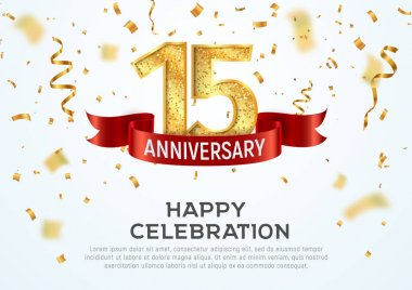 15 years anniversary vector banner template. Fifteenth year jubilee with red ribbon and confetti on white background