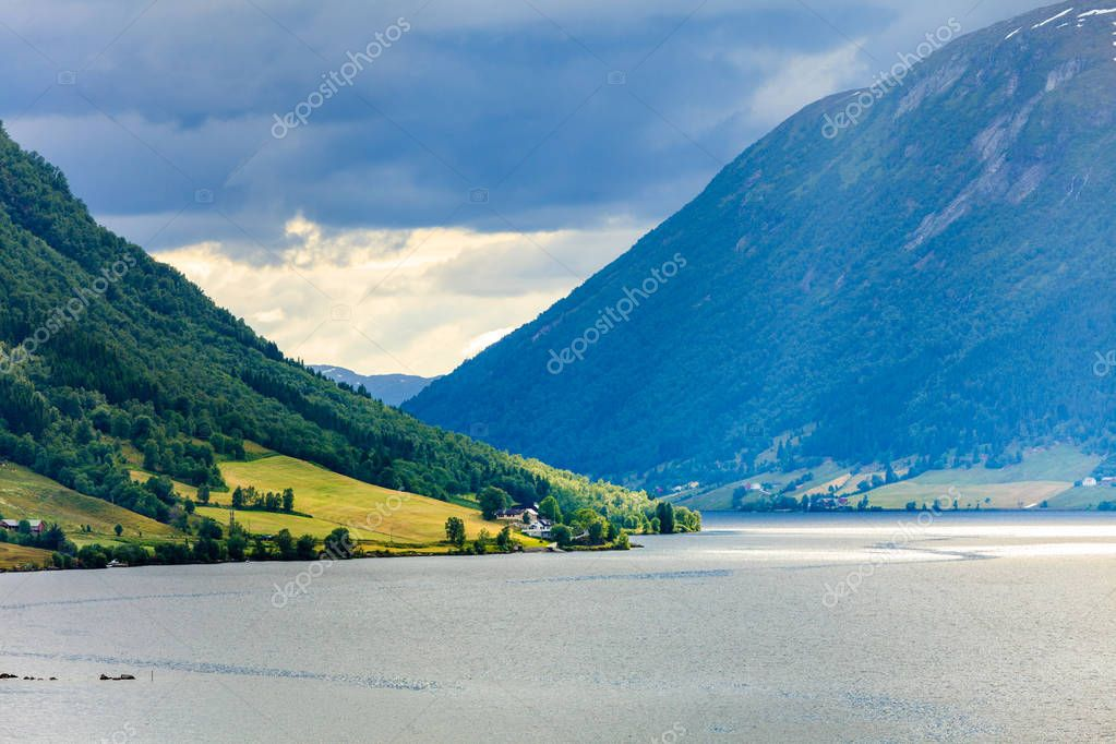 Фотообои Mountains landscape and fjord in Norway