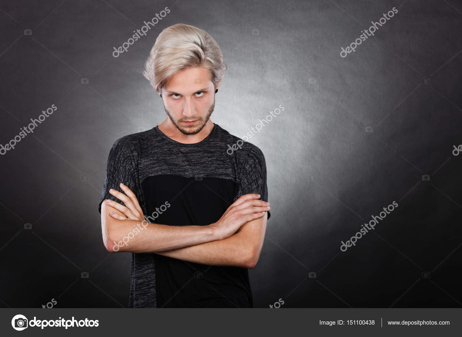 Angry Serious Young Man Negative Emotion Stock Photo