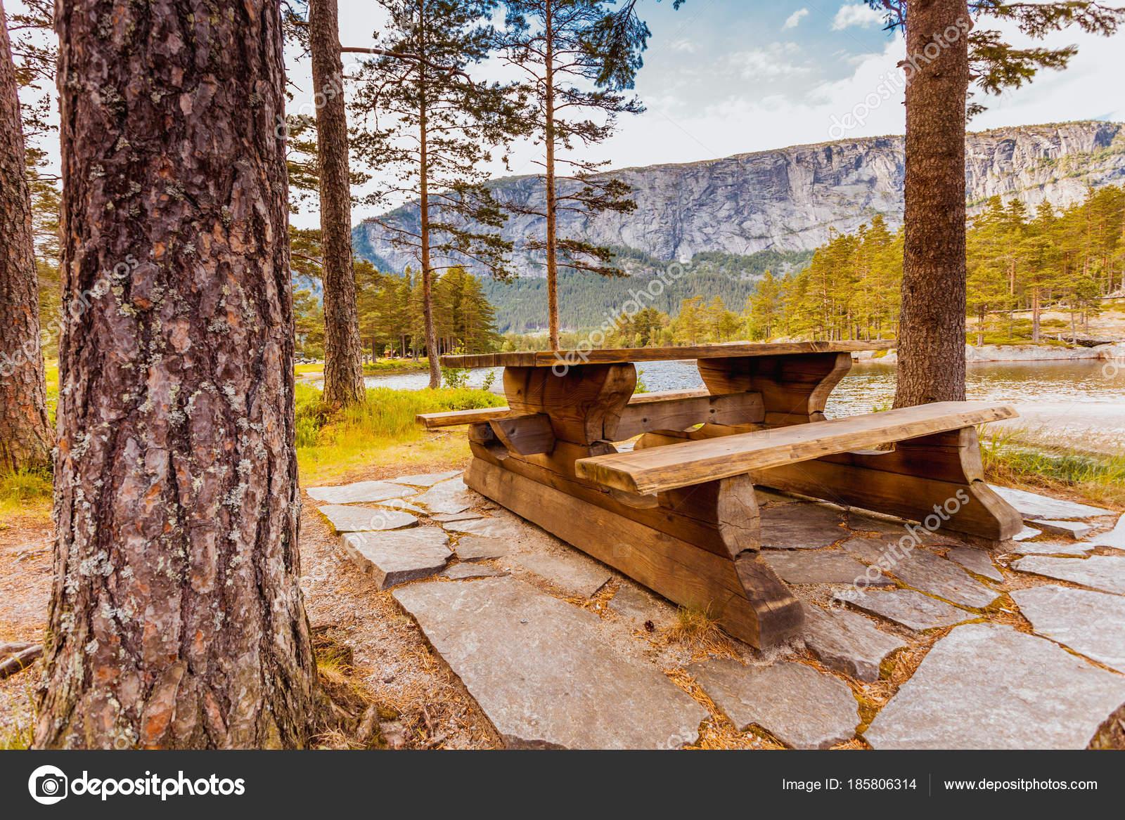 Fine Camp Site With Picnic Table In Norwegian Park Stock Photo Frankydiablos Diy Chair Ideas Frankydiabloscom