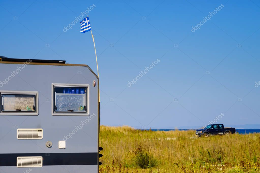 Camping truck with Greek flag