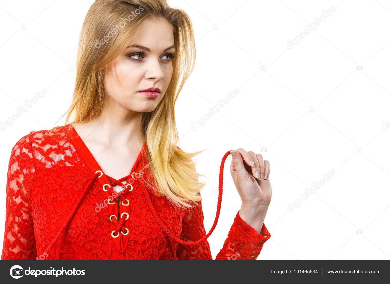 3c562f55434e83 Elegant young woman wearing red top — Stock Photo © Anetlanda #191465534