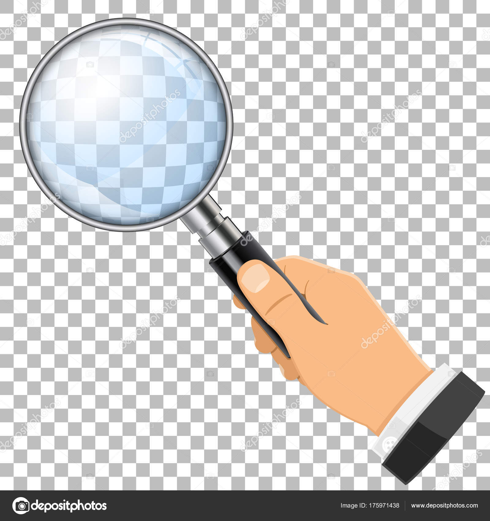 magnifying glass in hand stock vector talexey 175971438