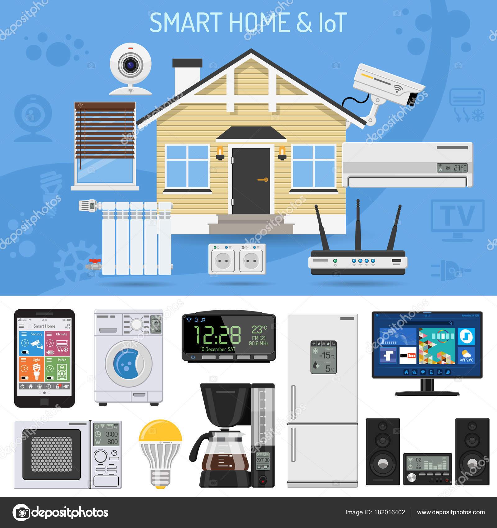 Smart Home und Internet der Dinge — Stockvektor © TAlexey #182016402