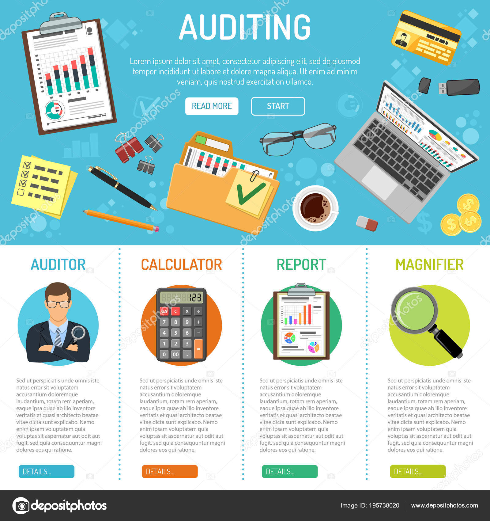 Auditing And Business Accounting Infographics Stock Vector Printed Circuit Board Infographic