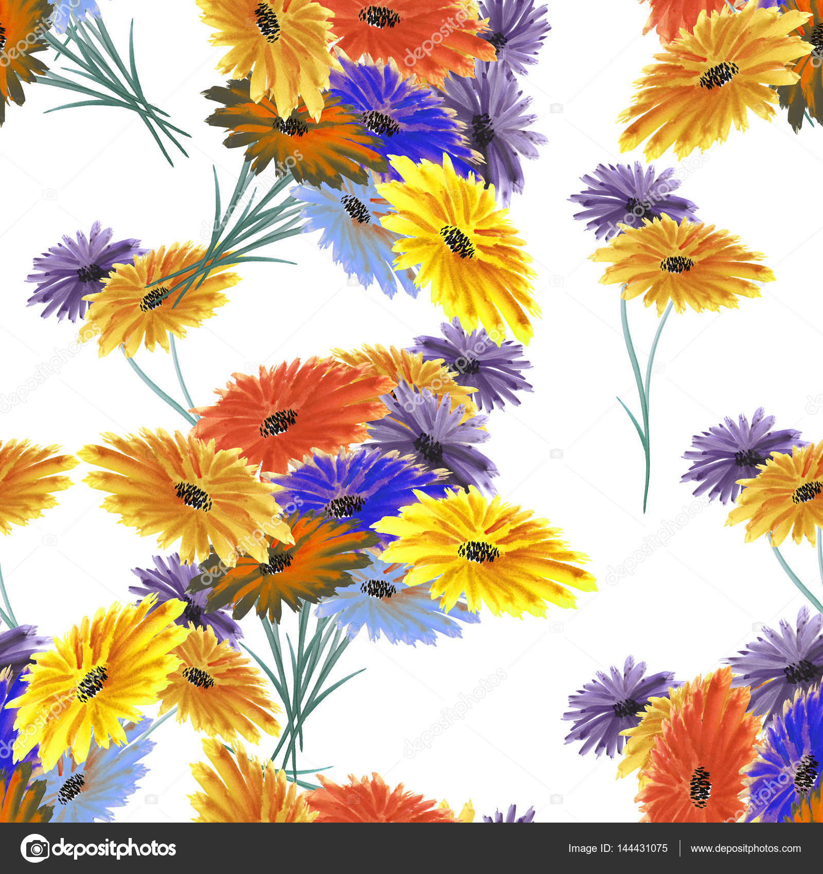 Seamless Pattern Wild Red Yellow Blue Flowers On The White