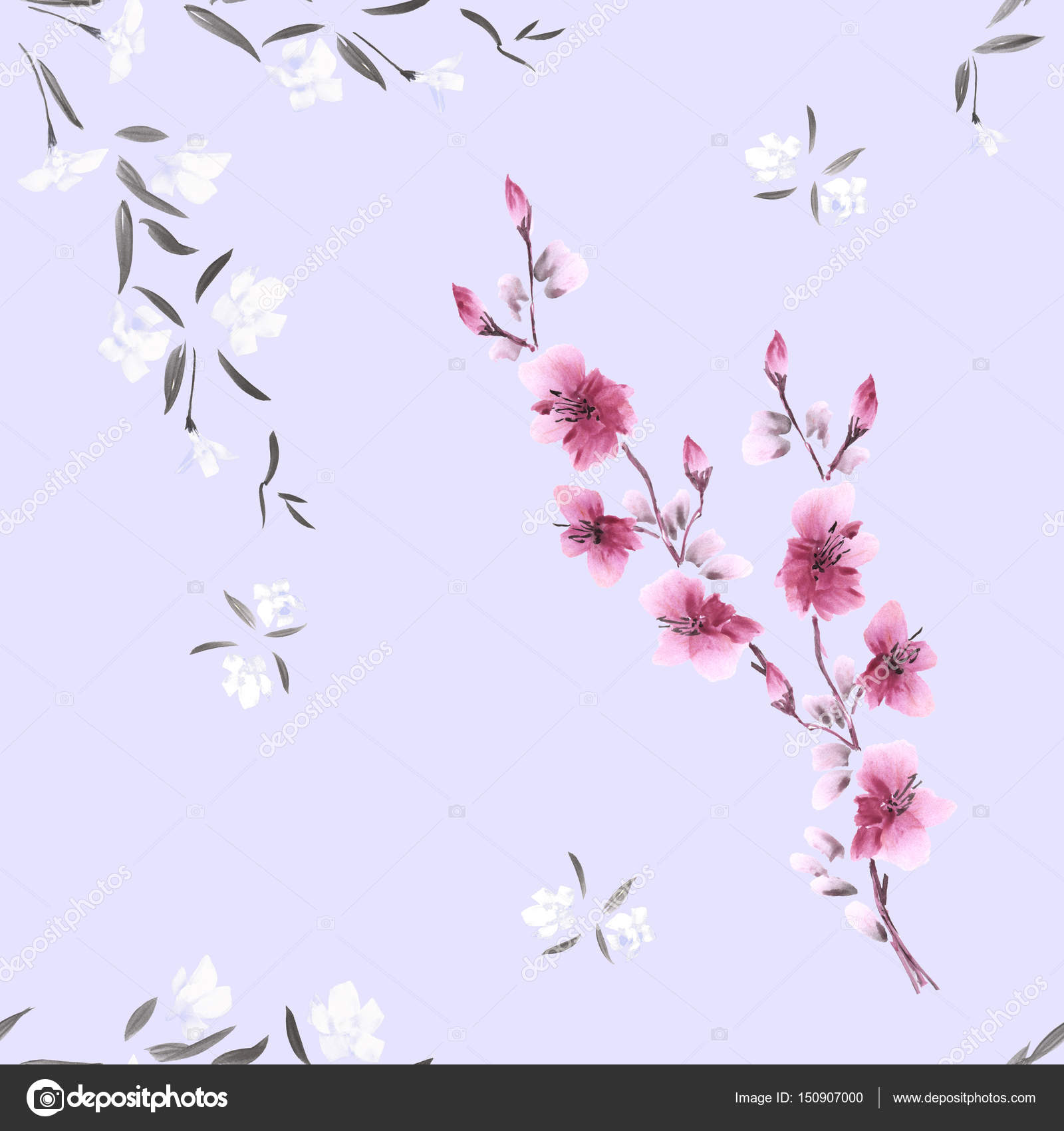 Seamless Pattern Watercolor Small Pink And White Flowers On The