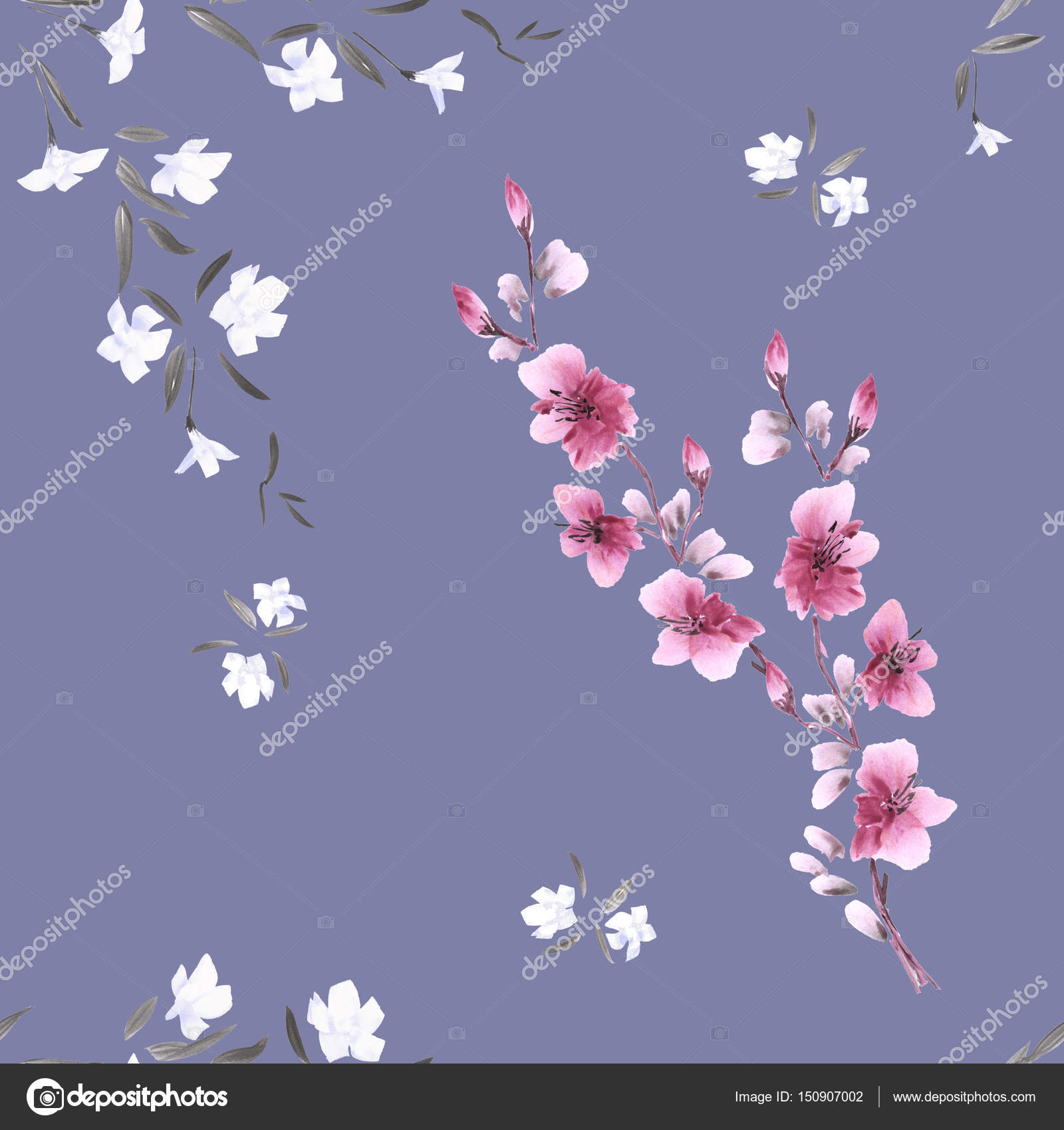 Seamless pattern watercolor small pink and white flowers on the deep seamless pattern watercolor small pink and white flowers on the deep violet background stock photo mightylinksfo